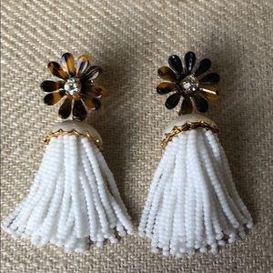 J.Crew tortoise beaded tassel earrings